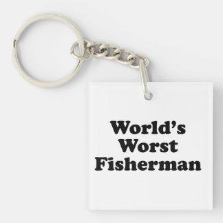 World's Worst Fisherman Single-Sided Square Acrylic Keychain