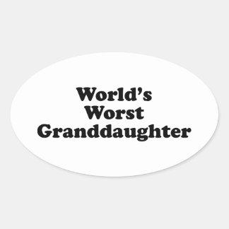 World's Worst Granddaugher Oval Sticker