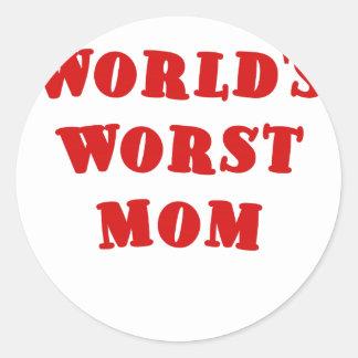 Worlds Worst Mom Classic Round Sticker