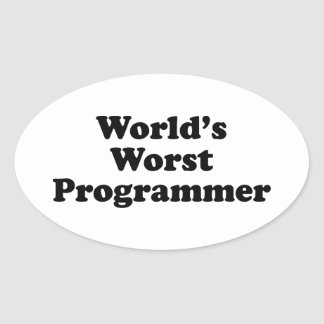 World's Worst Programmer Oval Sticker
