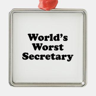World's Worst Secretary Metal Ornament