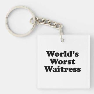 World's Worst Waitress Single-Sided Square Acrylic Keychain