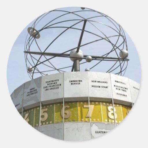 Worldtime Clock in Berlin Round Stickers