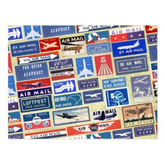 Worldwide Airmail Labels Postcard