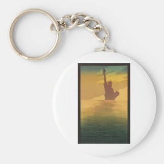 Worldwide Liberty Statue New York Advertisement Basic Round Button Keychain