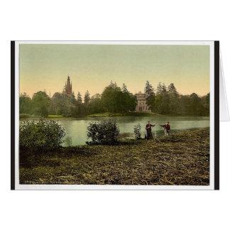 Worlitz Castle and lake, park of Worlitz, Anhalt, Greeting Card