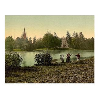 Worlitz Castle and lake, park of Worlitz, Anhalt, Postcard