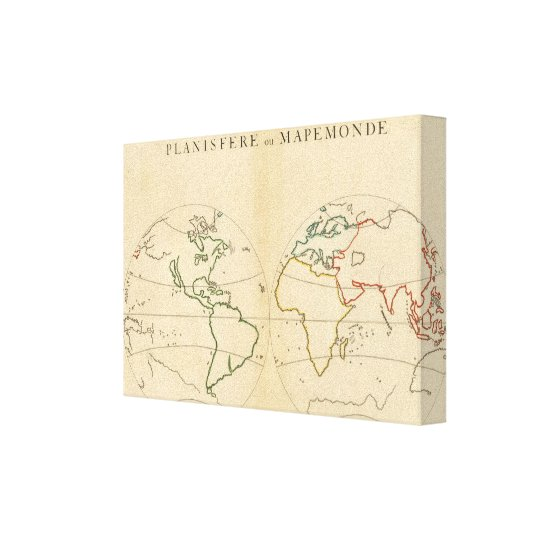 Worlp Map with 5 Zones Canvas Print