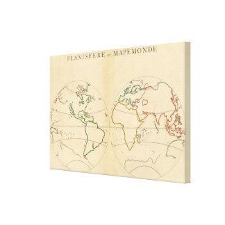 Worlp Map with 5 Zones Gallery Wrap Canvas