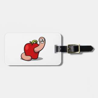 Worm and Red Apple Tag For Bags