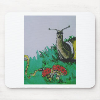 worm and snail art mouse pad