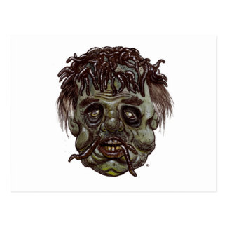 worm head zombie postcard