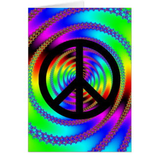 Worm Hole with Black Peace Sign Greeting Card