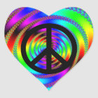 Worm Hole with Black Peace Sign Heart Sticker
