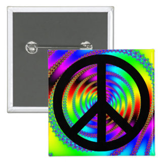 Worm Hole with Black Peace Sign Pinback Button