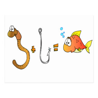 Worm + Hook = Fish Postcard