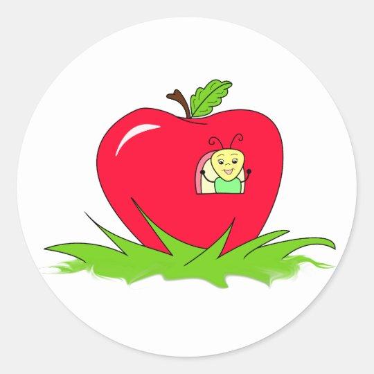 Worm In Red Apple Classic Round Sticker