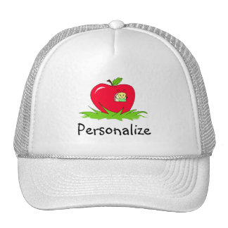 Worm In Red Apple With Name Trucker Hat