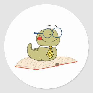Worm On A Book Wearing Glasses Classic Round Sticker