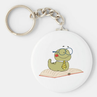 Worm On A Book Wearing Glasses Keychain