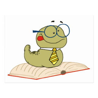 Worm On A Book Wearing Glasses Postcard
