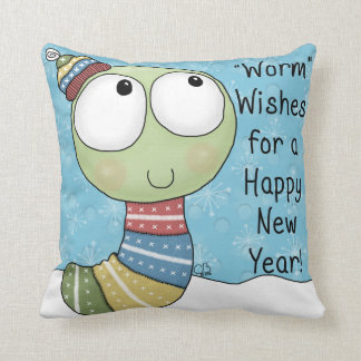 Worm Wishes for a Happy New Year! Throw Pillow