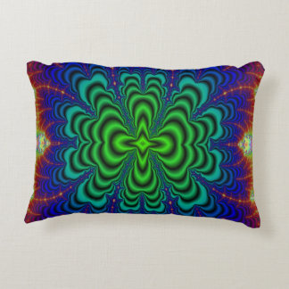 Wormhole Fractal Neon Green Space Tubes Accent Pillow