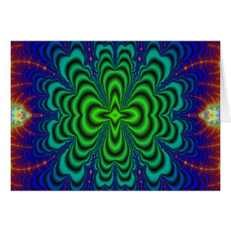 Wormhole Fractal Neon Green Space Tubes Greeting Card