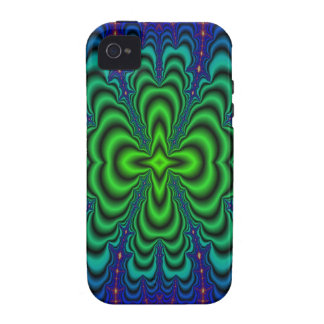 Wormhole Fractal Neon Green Space Tubes iPhone 4 Covers