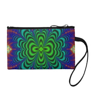 Wormhole Fractal Neon Green Space Tubes Change Purse