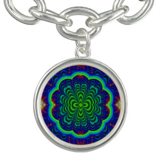Wormhole Fractal Neon Green Space Tubes Charm Bracelet