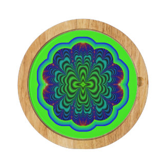 Wormhole Fractal Neon Green Space Tubes Cheese Platter
