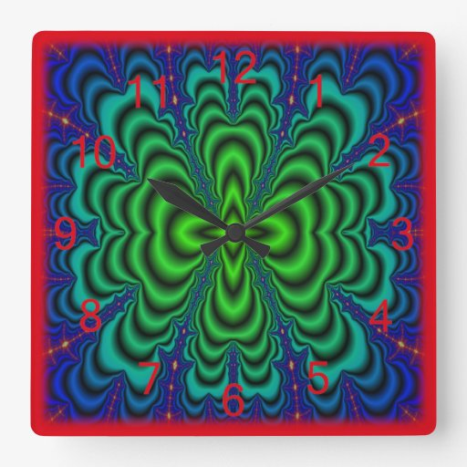 Wormhole Fractal Neon Green Space Tubes Square Wallclocks