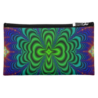 Wormhole Fractal Neon Green Space Tubes Cosmetic Bag