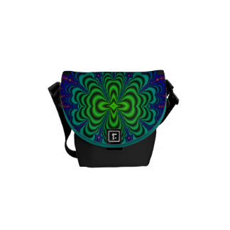Wormhole Fractal Neon Green Space Tubes Courier Bag