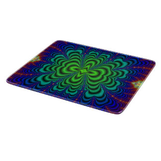 Wormhole Fractal Neon Green Space Tubes Cutting Board