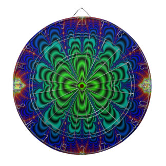Wormhole Fractal Neon Green Space Tubes Dart Boards