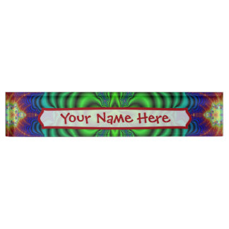 Wormhole Fractal Neon Green Space Tubes Desk Name Plate