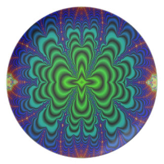Wormhole Fractal Neon Green Space Tubes Dinner Plate