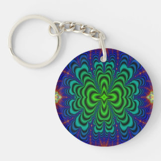 Wormhole Fractal Neon Green Space Tubes Double-Sided Round Acrylic Keychain
