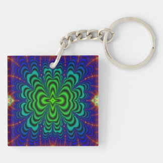 Wormhole Fractal Neon Green Space Tubes Double-Sided Square Acrylic Keychain