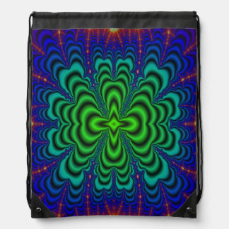 Wormhole Fractal Neon Green Space Tubes Drawstring Backpack