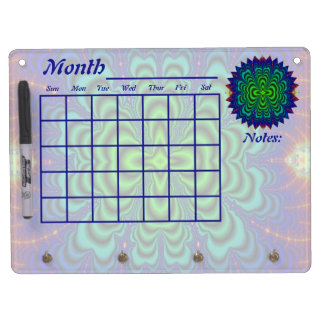 Wormhole Fractal Neon Green Space Tubes Dry Erase Board With Keychain Holder