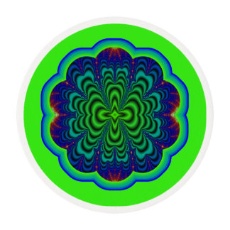 Wormhole Fractal Neon Green Space Tubes Edible Frosting Rounds