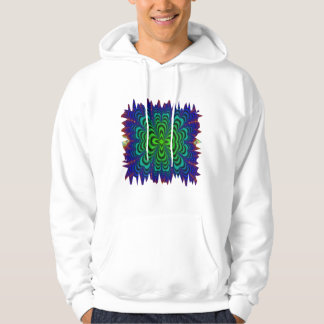 Wormhole Fractal Neon Green Space Tubes Hooded Pullover