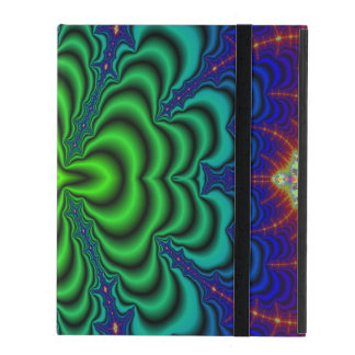 Wormhole Fractal Neon Green Space Tubes iPad Case