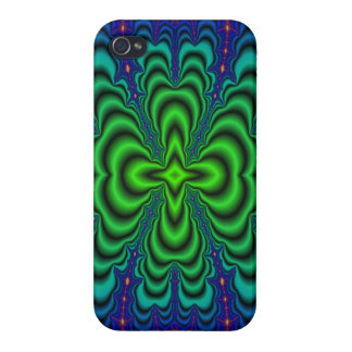 Wormhole Fractal Neon Green Space Tubes Cover For iPhone 4