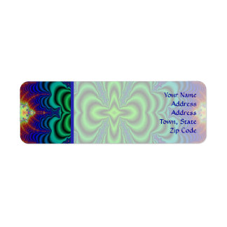 Wormhole Fractal Neon Green Space Tubes Return Address Label