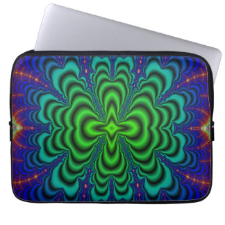 Wormhole Fractal Neon Green Space Tubes Laptop Sleeve