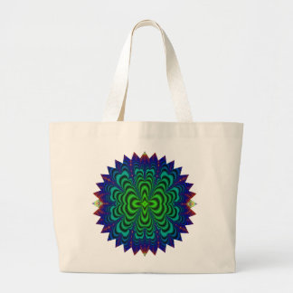 Wormhole Fractal Neon Green Space Tubes Large Tote Bag
